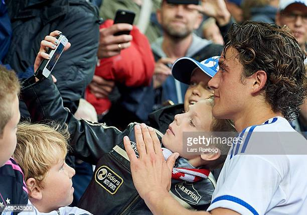 Thomas Delaney of FC Copenhagen having his selfie taken with the young fans after the Danish Alka Superliga match between FC Copenhagen and AaB...