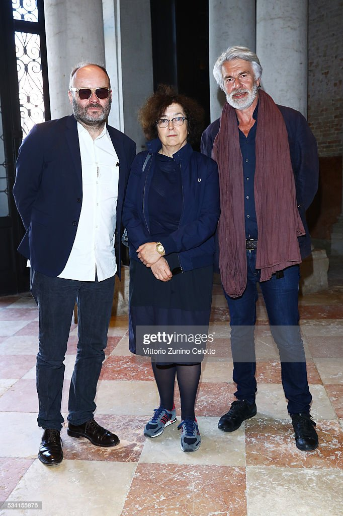 Thomas Demand, Anna Vierbok and Chris Decorn attend the private view and lunch of 'Belligerent Eyes' at Fondazione Prada at Ca' Corner della Regina on May 25, 2016 in Venice, Italy.