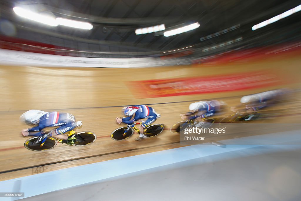 Thomas Denis, <a gi-track='captionPersonalityLinkClicked' href=/galleries/search?phrase=Morgan+Kneisky&family=editorial&specificpeople=5778074 ng-click='$event.stopPropagation()'>Morgan Kneisky</a>; Julien Morice and Benjamin Thomas of France during the Mens Team Pursuit semi-final during the 2015 UCI Track Cycling World Cup on December 5, 2015 in Cambridge, New Zealand.