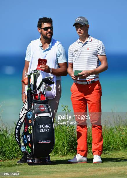 Thomas Detry of Belgium and his caddie look on during day three of The Rocco Forte Open at Verdura Golf and Spa Resort on May 20 2017 in Sciacca Italy
