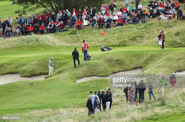 Thomas Detry of Belgium chips on to the 10th green during day three of the Made in Denmark at Himmerland Golf Spa Resort on August 26 2017 in Aalborg...