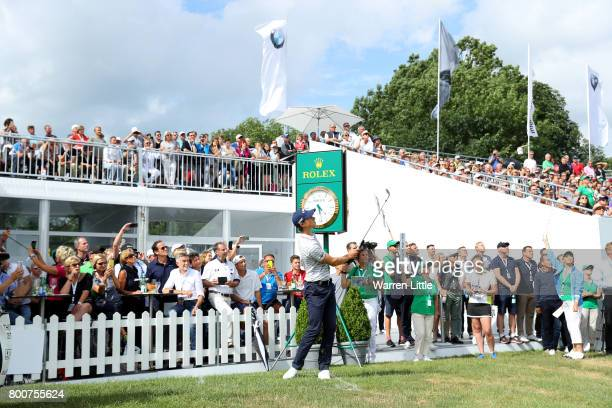 Thomas Detry of Belgium chips to the 18th green during the final round of the BMW International Open at Golfclub Munchen Eichenried on June 25 2017...