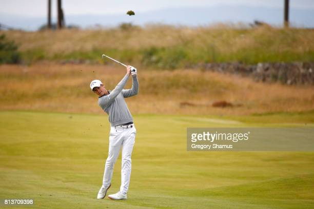 Thomas Detry of Belgium hits his second shot on the 13th hole during day one of the AAM Scottish Open at Dundonald Links Golf Course on July 13 2017...