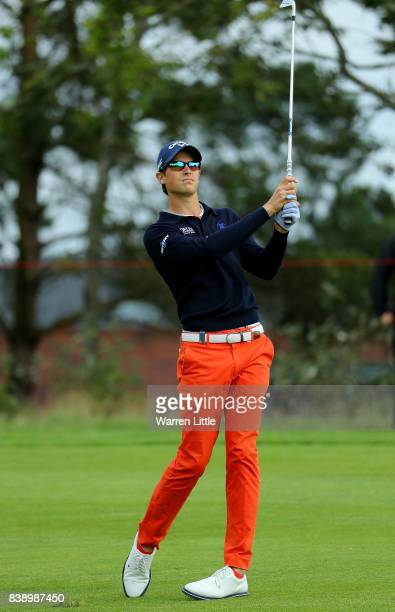Thomas Detry of Belgium hits his second shot on the 1st hole during day two of Made in Denmark at Himmerland Golf Spa Resort on August 25 2017 in...