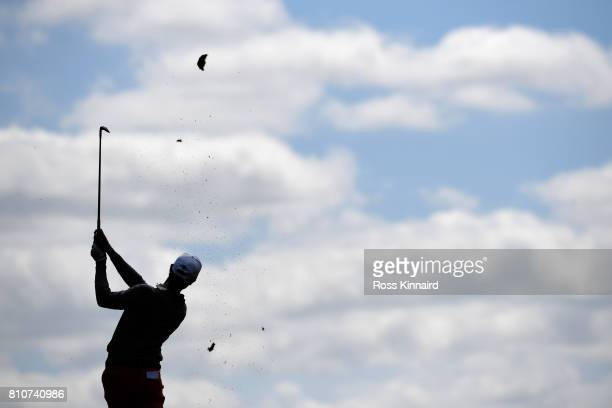 Thomas Detry of Belgium hits his third shot on the 4th hole during day three of the Dubai Duty Free Irish Open at Portstewart Golf Club on July 8...