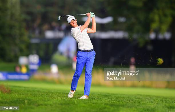 Thomas Detry of Belgium plays his second shot on the 18th fairway during the Porsche European Open Day Two at Green Eagle Golf Course on July 28 2017...