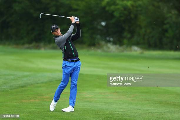 Thomas Detry of Belgium plays his second shot on the 1st during day three of the Saltire Energy Paul Lawrie Matchplay at Golf Resort Bad Griesbach on...