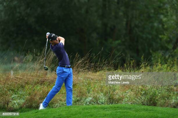 Thomas Detry of Belgium plays his second shot on the 3rd during day three of the Saltire Energy Paul Lawrie Matchplay at Golf Resort Bad Griesbach on...