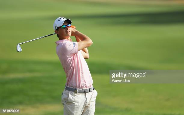 Thomas Detry of Belgium plays his second shot on the 3rd hole during day two of the Portugal Masters at Dom Pedro Victoria Golf Club on September 22...