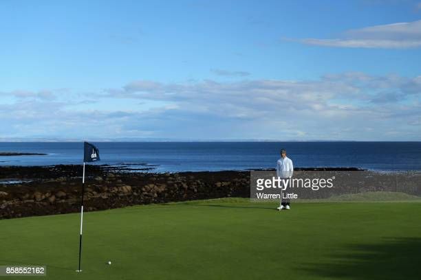 Thomas Detry of Belgium putts on the 12th green during day three of the 2017 Alfred Dunhill Championship at Kingsbarns on October 7 2017 in St...