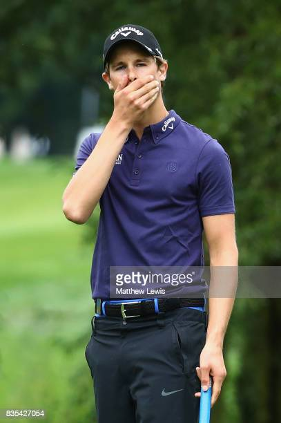 Thomas Detry of Belgium reacts to a missed putt on the 16th green during day three of the Saltire Energy Paul Lawrie Matchplay at Golf Resort Bad...