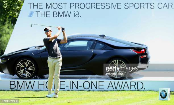 Thomas Detry of Belgium tees off during day one of the BMW International Open at Golfclub Munchen Eichenried on June 22 2017 in Munich Germany