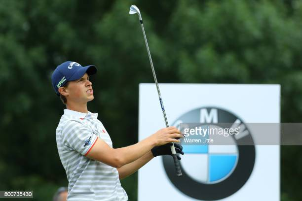 Thomas Detry of Belgium tees off on the 12th hole during the final round of the BMW International Open at Golfclub Munchen Eichenried on June 25 2017...