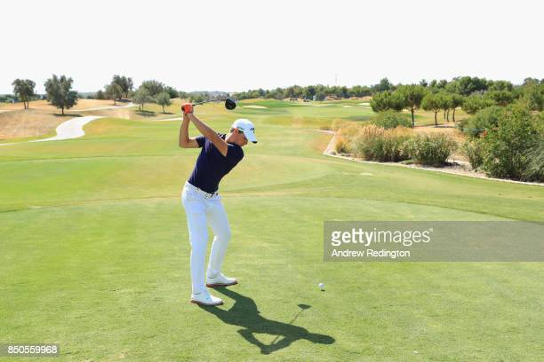 Thomas Detry of Belgium tees off on the 15th during day one of the 2017 Portugal Masters at Oceanico Victoria Golf Club on September 21 2017 in...