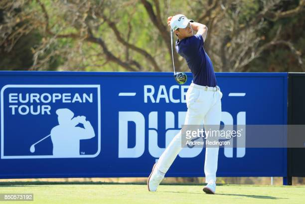 Thomas Detry of Belgium tees off on the 17th during day one of the 2017 Portugal Masters at Oceanico Victoria Golf Club on September 21 2017 in...