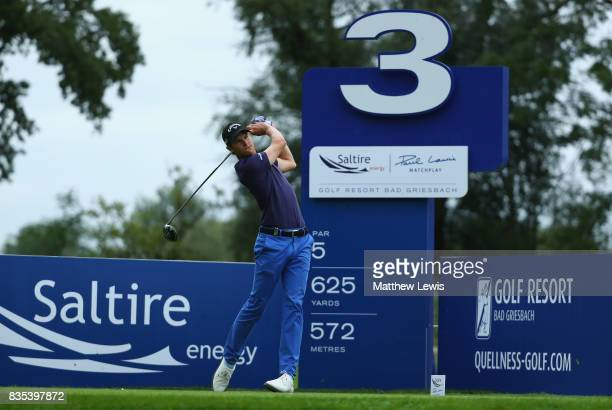 Thomas Detry of Belgium tees off on the 3rd during day three of the Saltire Energy Paul Lawrie Matchplay at Golf Resort Bad Griesbach on August 19...
