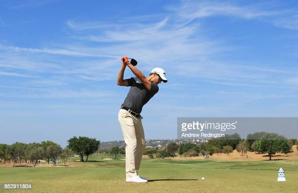 Thomas Detry of Belgium tees off on the 3rd hole during day four of the Portugal Masters at Dom Pedro Victoria Golf Club on September 24 2017 in...