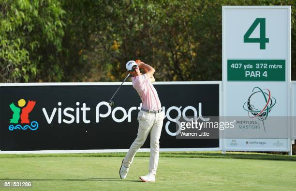 Thomas Detry of Belgium tees off on the 4th hole during day two of the Portugal Masters at Dom Pedro Victoria Golf Club on September 22 2017 in...