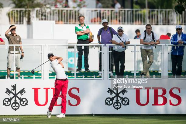 Thomas Detry of Belgium tees off the first hole during the 58th UBS Hong Kong Golf Open as part of the European Tour on 08 December 2016 at the Hong...
