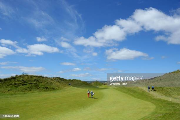 Thomas Detry of Belgium walks up the 4th hole during day three of the Dubai Duty Free Irish Open at Portstewart Golf Club on July 8 2017 in...