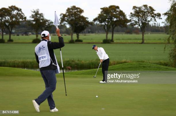 Thomas Detry of Germany putts on the 6th hole during day two of the KLM Open at The Dutch on September 15 2017 in Spijk Netherlands