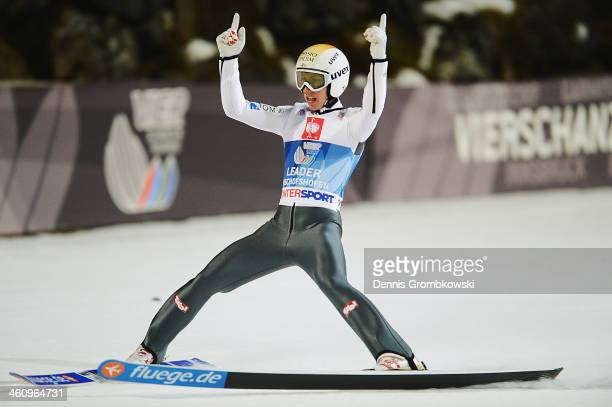 Thomas Diethart of Austria celebrates after winning the 62nd Four Hills Tournament at PaulAuflerleitnerSchanze on January 6 2014 in Bischofshofen...