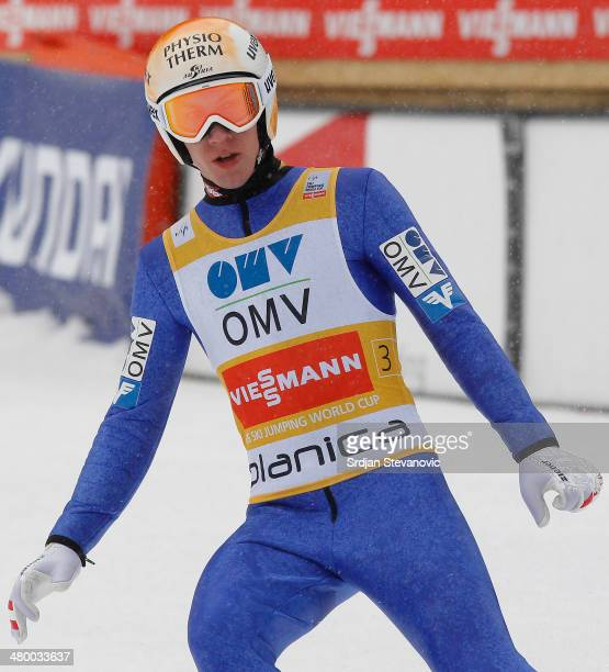 Thomas Diethart of Austria competes during the Large hill team of the FIS Men's Ski Jumping World Cup on March 22 2014 in Planica Slovenia