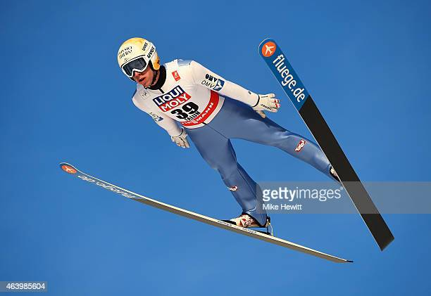 Thomas Diethart of Austria competes during the Men's HS100 Normal Hill Ski Jumping trial during the FIS Nordic World Ski Championships at the Lugnet...