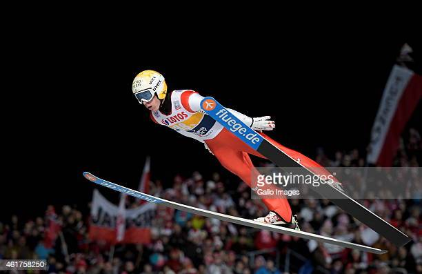 Thomas Diethart of Austria competes in the 1st round of FIS Ski Jumping World Cup team competition at Wielka Krokiew Jumping Hill on January 17 2015...