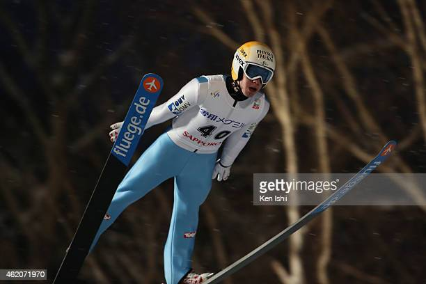 Thomas Diethart of Austria competes in the first round in the Large Hill Individual during the day one of FIS Men's Ski Jumping World Cup Sapporo at...
