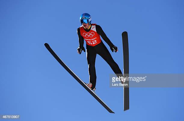 Thomas Diethart of Austria jumps during the Men's Normal Hill Individual training ahead of the Sochi 2014 Winter Olympics at the RusSki Gorki Ski...