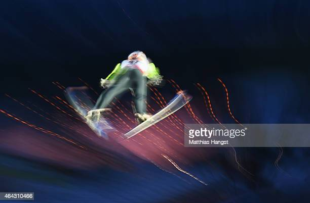 Thomas Diethart of Austria practices during the Men's Large Hill training during the FIS Nordic World Ski Championships at the Lugnet venue on...
