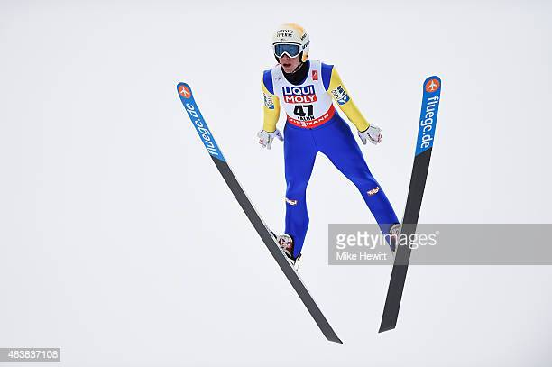 Thomas Diethart of Austria practices during the Men's Normal Hill Ski Jumping training during the FIS Nordic World Ski Championships at the Lugnet...
