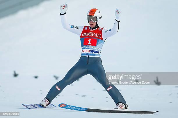 Thomas Diethart of Austria takes 1st place during the FIS Ski Jumping World Cup Vierschanzentournee on January 01 2014 in GarmischPartenkirchen...
