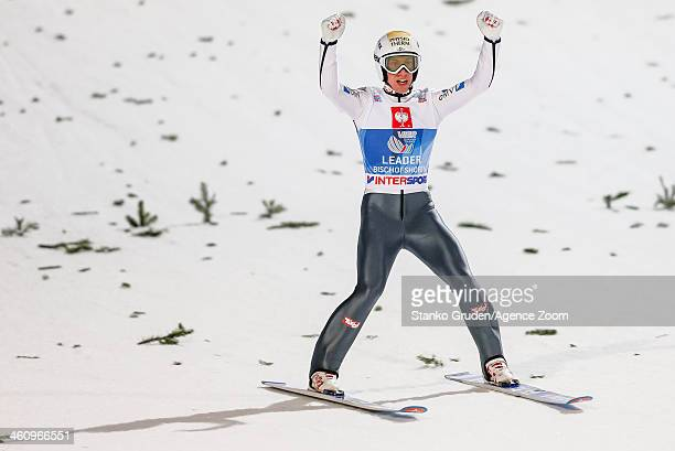 Thomas Diethart of Austria takes 1st place during the FIS Ski Jumping World Cup Vierschanzentournee on January 06 2014 in Bischofhofen Austria