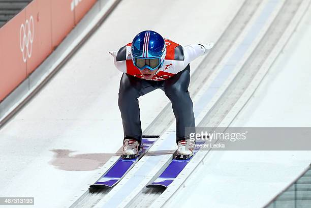 Thomas Diethart of Austria takes part in the Men's Normal Hill Individual Ski Jumping training ahead of the Sochi 2014 Winter Olympics at the RusSki...
