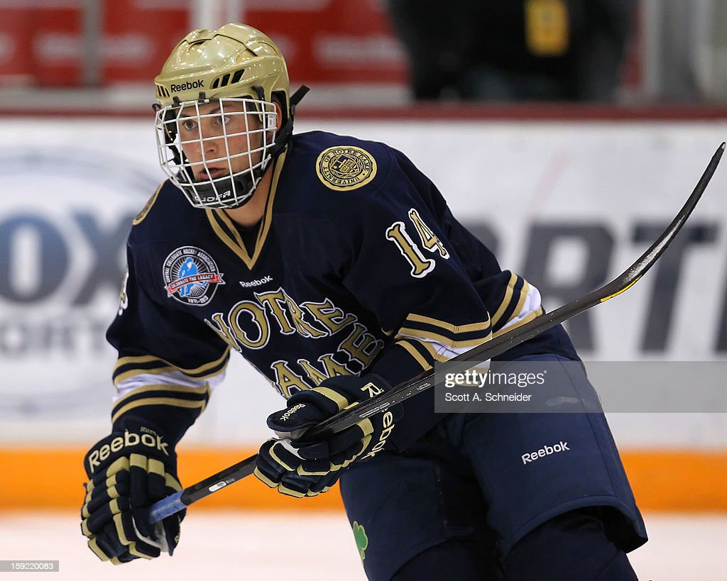 Thomas DiPali #14 of the Notre Dame Fighting Irish warms up before a game against the Minnesota Gophers January 8, 2013 at Mariucci Arena in Minneapolis, Minnesota.