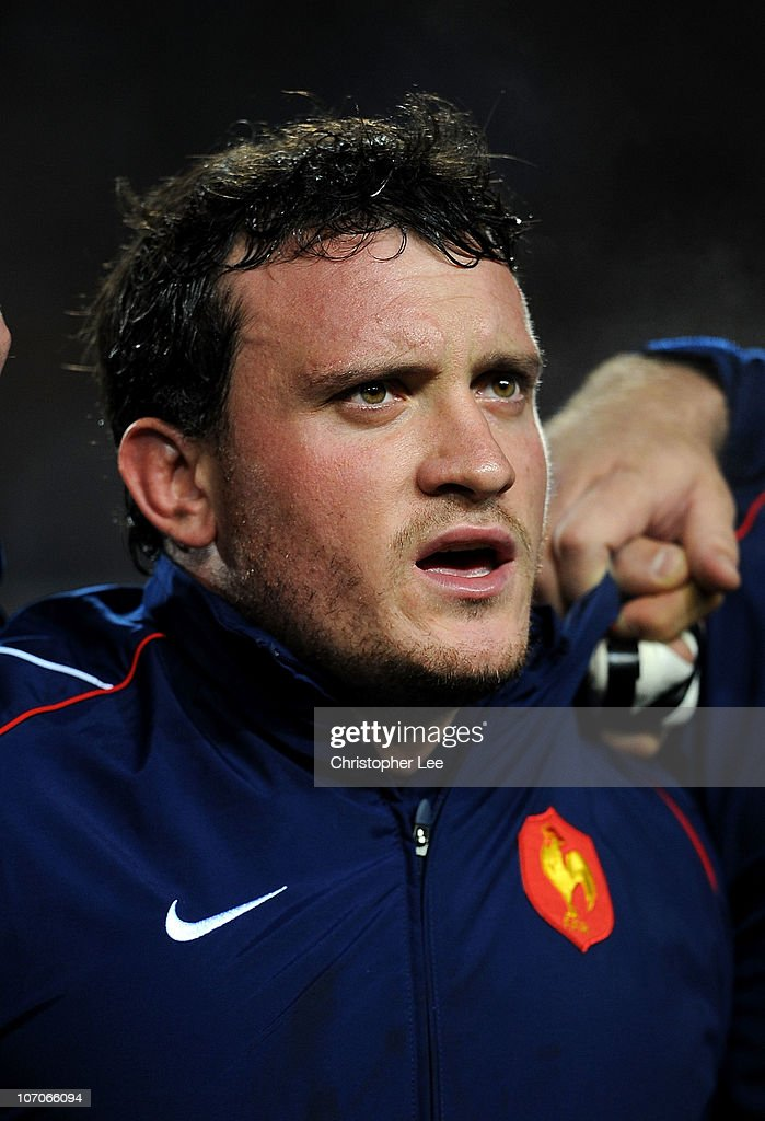 <a gi-track='captionPersonalityLinkClicked' href=/galleries/search?phrase=Thomas+Domingo&family=editorial&specificpeople=4651174 ng-click='$event.stopPropagation()'>Thomas Domingo</a> of France during their national anthem during the International Friendly match between France and Argentina at the Stade de la Mosson on November 20, 2010 in Montpellier, France.