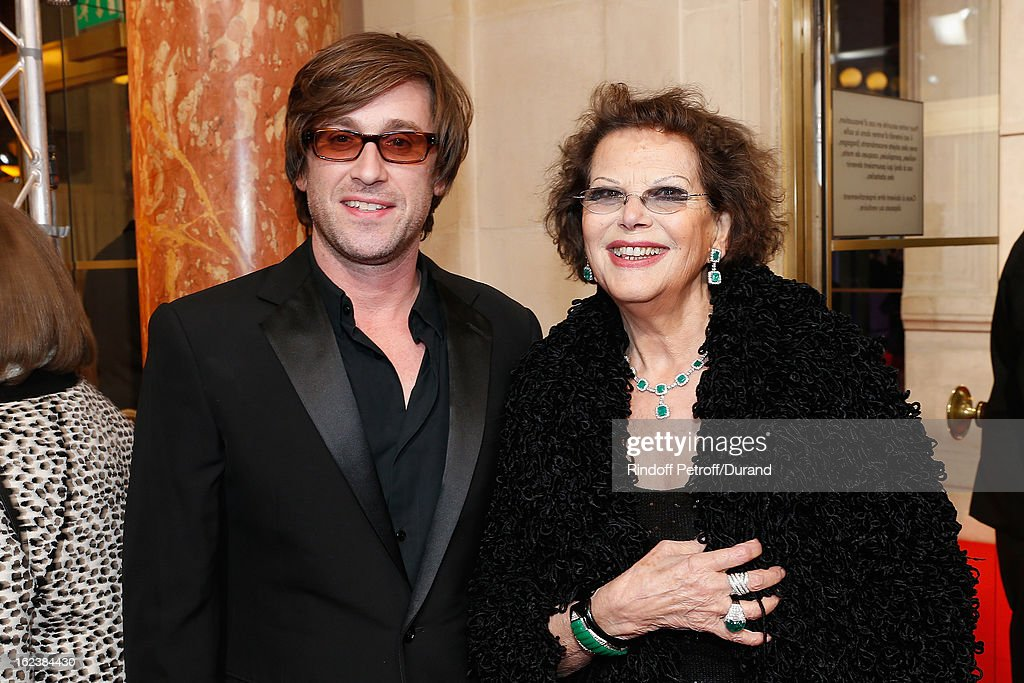 Thomas Dutronc and Claudia Cardinale arrive for the Cesar Film Awards 2013 at Theatre du Chatelet on February 22 2013 in Paris France