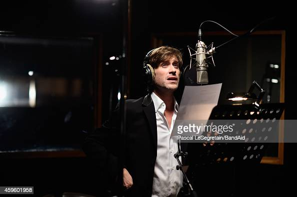 Thomas Dutronc performs during the Band Aid 30 'Noel est la' Recording on November 23 2014 in Paris France