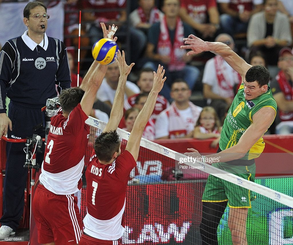 Thomas Edgar of Australia spikes the ball during the FIVB World Championships match between Australia and Poland on September 2, 2014 in Wroclaw, Poland.