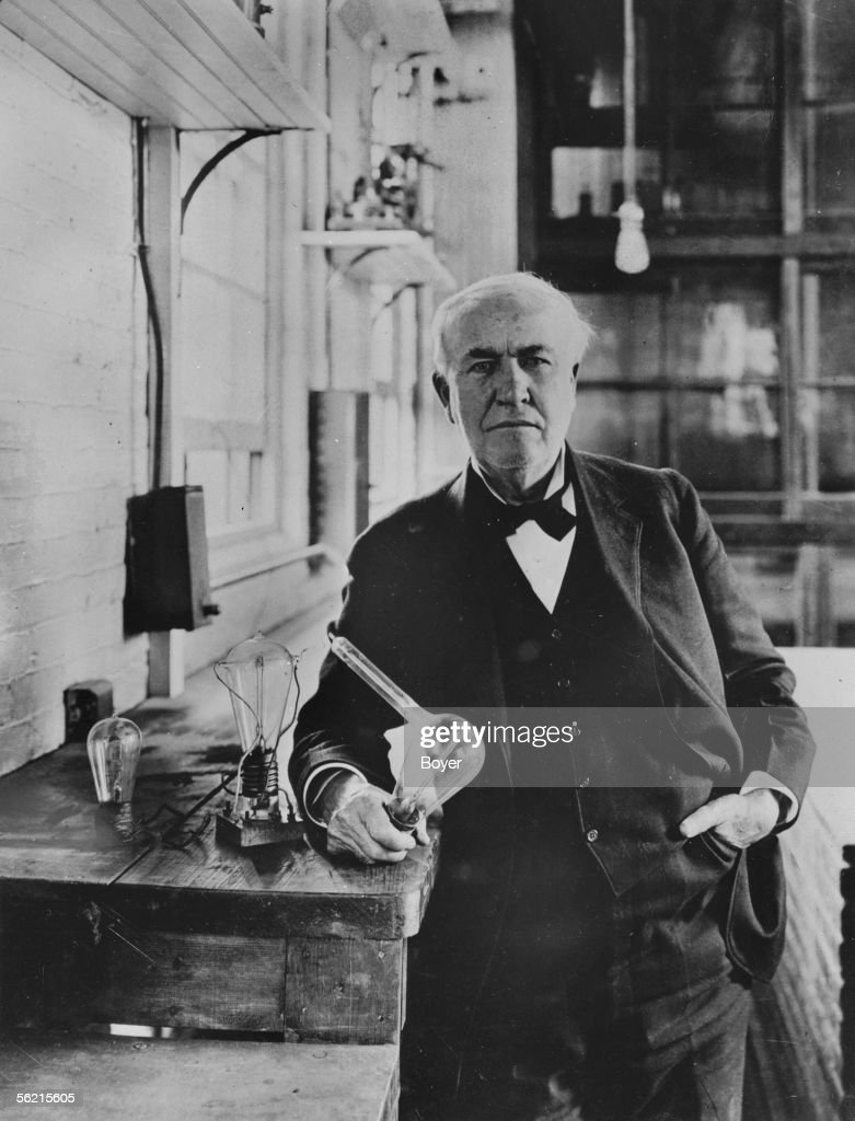 <a gi-track='captionPersonalityLinkClicked' href=/galleries/search?phrase=Thomas+Edison&family=editorial&specificpeople=69990 ng-click='$event.stopPropagation()'>Thomas Edison</a> (1847-1931), American inventor, in 1883 , with the incandescent lamps that he invented.