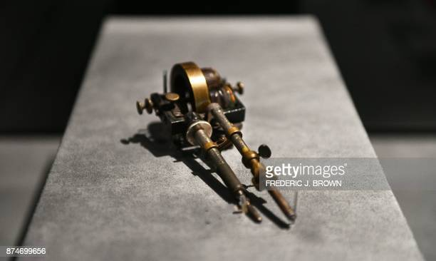Thomas Edison's Electric stencil pen patented in 1876 which inspired some of the first electric tattoo machines on display as part of the travelling...