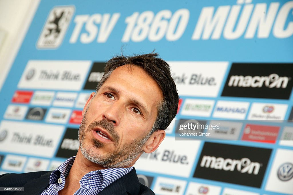 Thomas Eichin, new head of sport of TSV 1860 Muenchen addresses the media during a press conference at Gruenwalder Strasse training ground on June 27, 2016 in Munich, Germany.