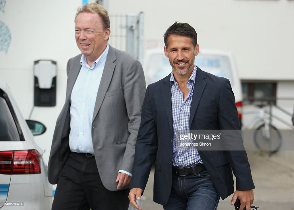Thomas Eichin (R), new head of sport of TSV 1860 Muenchen and Peter Cassalette, president of of TSV 1860 Muenchen arrive for a press conference at Gruenwalder Strasse training ground on June 27, 2016 in Munich, Germany.