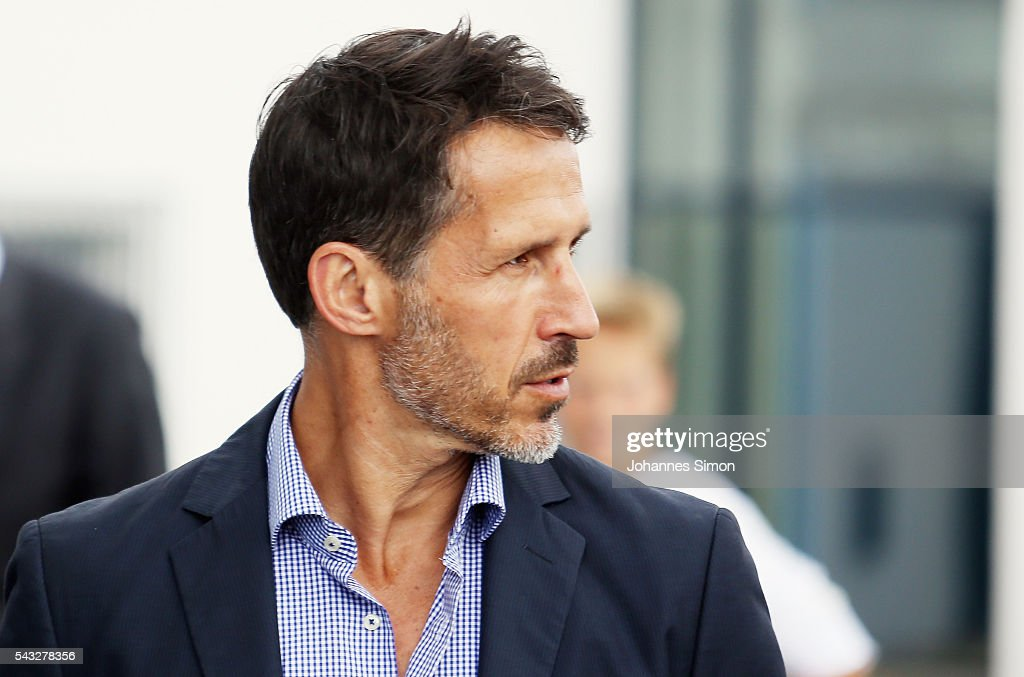 Thomas Eichin, new head of sport of TSV 1860 Muenchen arrives for a press conference at Gruenwalder Strasse training ground on June 27, 2016 in Munich, Germany.