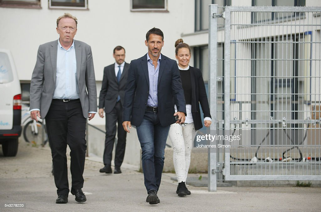 Thomas Eichin (2R), new head of sport of TSV 1860 Muenchen, Peter Cassalette (L), president of of TSV 1860 Muenchen and spokes woman Lil Zercher (R) arrive for a press conference at Gruenwalder Strasse training ground on June 27, 2016 in Munich, Germany.