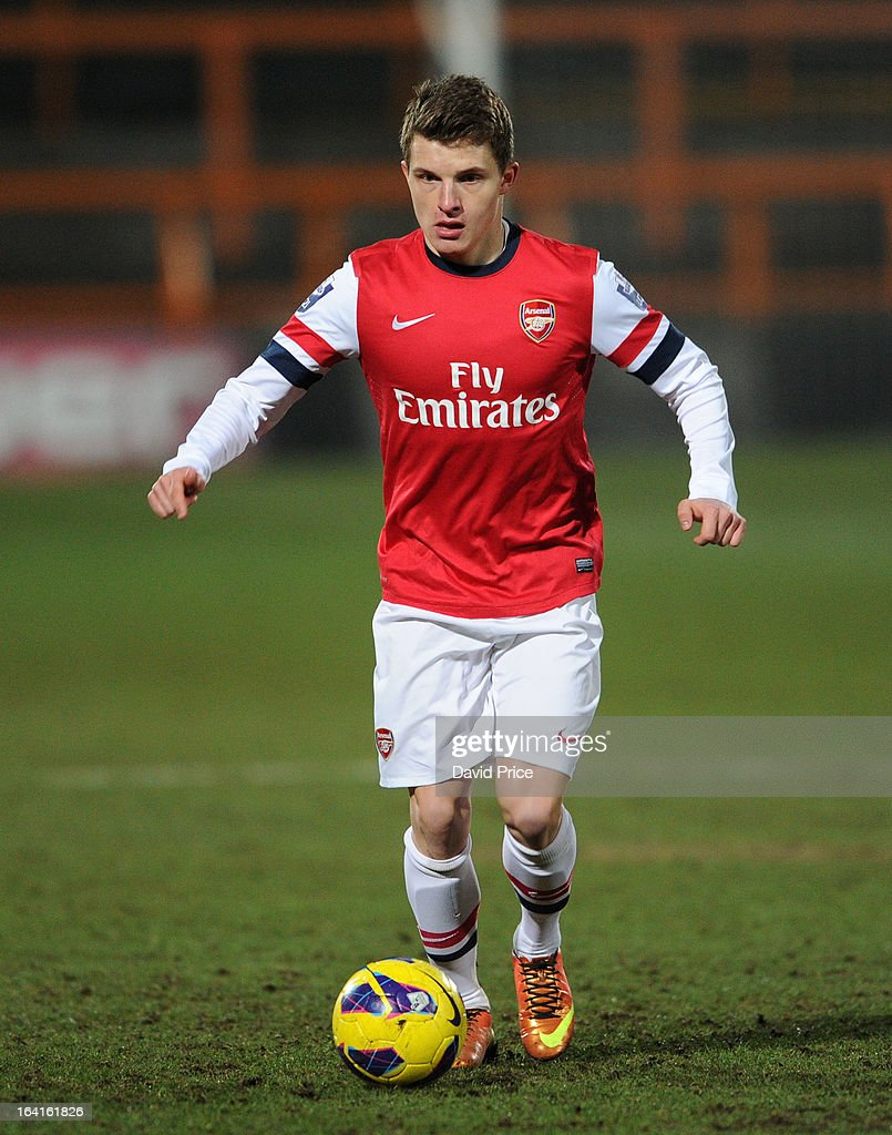 Thomas Eisfeld of Arsenal during the Barclays Premier U21 match between Arsenal U21 and Manchester United U21 at Underhill Stadium on March 20, 2013 in Barnet, United Kingdom.