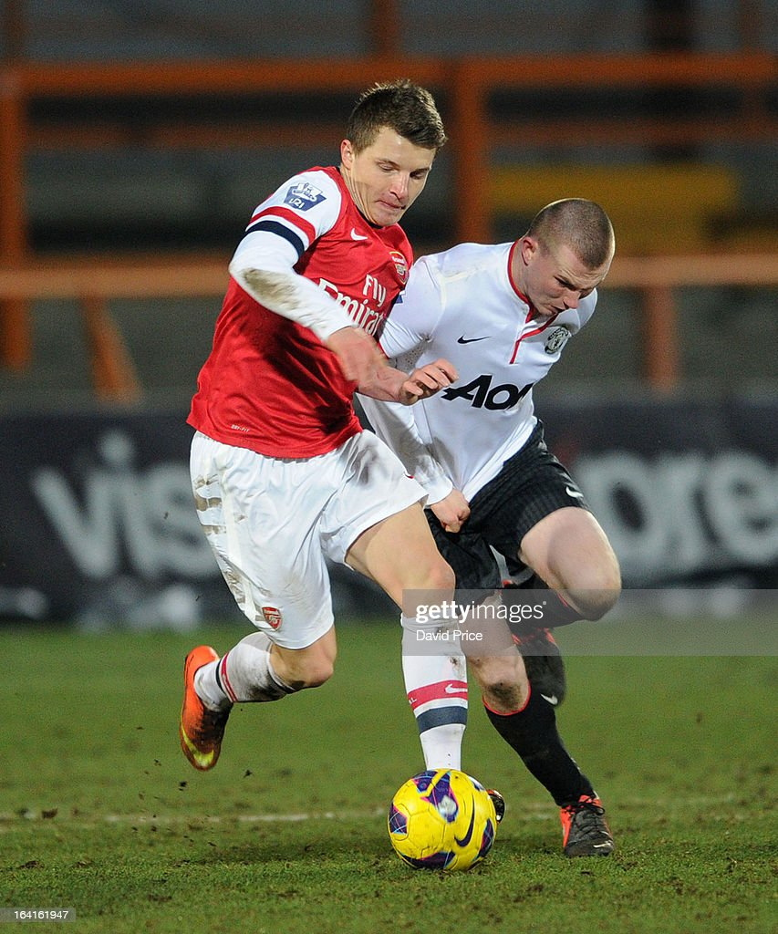 Thomas Eisfeld of Arsenal holds off Jesse Lingard of Man Utd during the Barclays Premier U21 match between Arsenal U21 and Manchester United U21 at Underhill Stadium on March 20, 2013 in Barnet, United Kingdom.