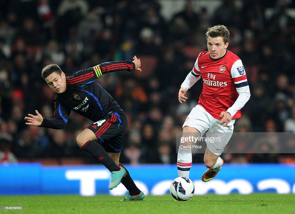 Thomas Eisfeld of Arsenal turns away from Yury Bavin of CSKA during the NextGen Series Quarter Final match between Arsenal and PFC CSKA at Emirates Stadium on March 25, 2013 in London, England.